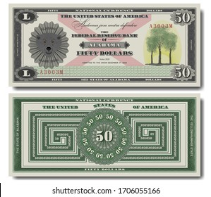Fictional 50 US dollars dedicated to Alabama and Latin motto We dare defend our rights. Head of black bear and trees
