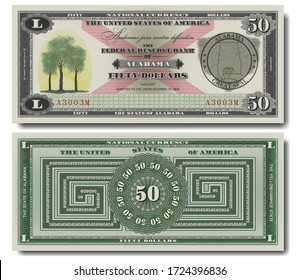 Fictional 50 US dollars dedicated to Alabama and Latin motto We dare defend our rights. Head of black bear and trees. Seal. Variant two