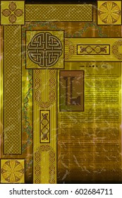 Fictional ancient book. Page of the nonexistent manuscript imitating the Book of Kells. Vector illustration EPS10