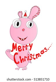 Fictional animal and text Merry Christmas. Isolated. Vector illustration.