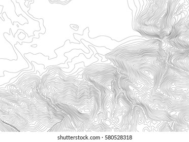 Fictional map hilly terrain relief. Light topo contour map, vector illustration. Empty space for your text