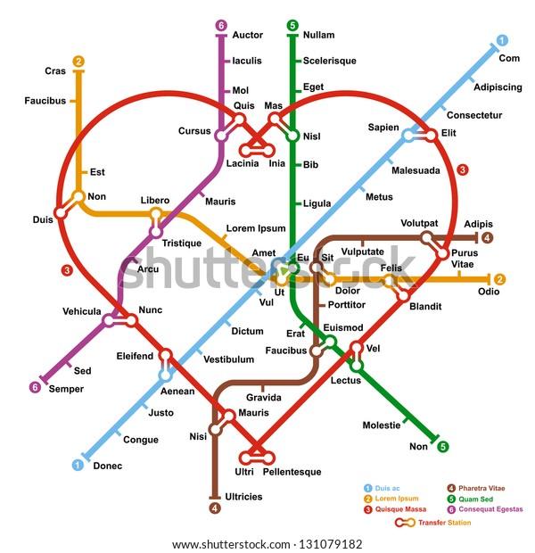 Subway Map In Heart Shape.Fictional Metro Map Shape Heart Vector Stock Vector Royalty Free