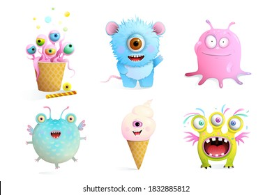 Fictional Monsters Characters Collection for Kids. Cute and sweet fairytale creatures clip art set isolated on white vector imaginary animals.