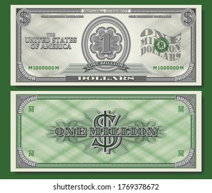 Fictional paper money USA. Banknote of one million dollars. Obverse and reverse with guilloche patterns