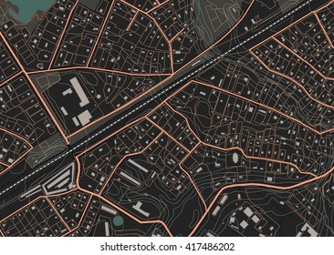 Fictional plan a residential area of private housing. Vector illustration in dark tones