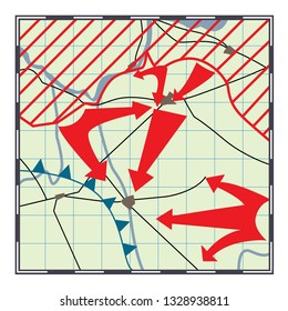 Fictional and stylized map of the fighting. Vector illustration.