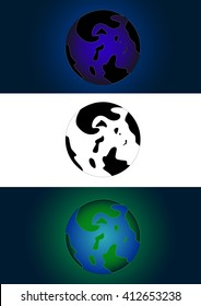 Fictional unknown planet with the continents in the blue, green color and monochrome