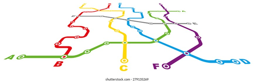 Fictitious City Public Transport Scheme on White Background