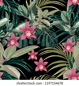 Ficus, palm leaves and pink orchid flowers seamless pattern, tropical foliage, branch, greenery. Decorative background in rustic style for wedding invite, fabric. Black background.