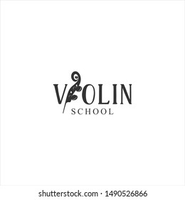 Fiddle Cello bass Head vector replacing I letter in violin text in black color. music instrument logo template