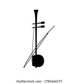 Fiddle music instrument silhouette vector on white background