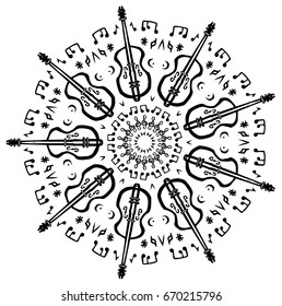 Fiddle Violin Music Mandala Background Music Notes