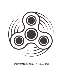 Fidget spinner icon - toy for stress relief and improvement of attention span. Filled with gray color. Isolated vector illustration.