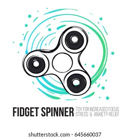 Fidget spinner text info and rotating spinner. Fidget spinner hand drawn fashion illustration