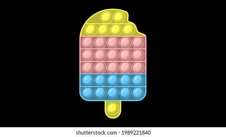 Fidgeting pop it bubble toy, autism stress relief, push pop ice cream game vector icon