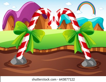 Field with candycanes in river illustration