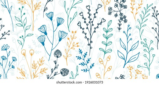 Field flower sprigs organic vector seamless background. Vintage herbal graphic design. Garden plants leaves and blossom wallpaper. Field flower twigs sketch endless background