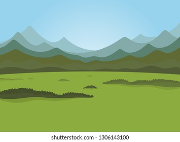 Field and forest field. Vector illustration