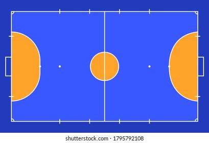 Field for futsal. Orange Outline of lines futsal field Vector illustration. Vector illustration
