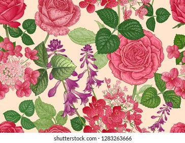 Field and garden flowers. Floral seamless pattern. Roses and hydrangeas. Vector illustration. Template for fashion industry, interior decoration, wrapping paper, wallpaper. Vintage. Victorian style.