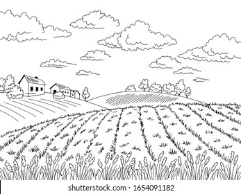 フィールドグラフィックの黒い白い横向きのスケッチイラストベクター画像