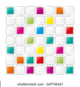 field of gray and color squares on white background