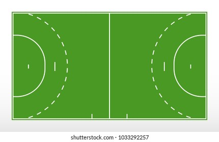 Field for handball. Outline of lines handball field. Green field for handball. Vector illustration.
