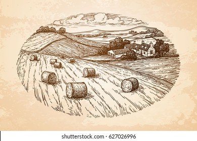 Field with haystacks. Countryside landscape. Rustic scenery with village. Old paper background. Retro style.