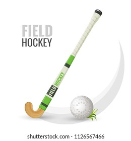 Field hockey competitive game and equipment vector illustration