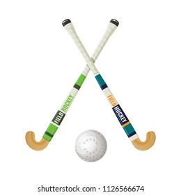 Field hockey equipment and small ball vector illustration