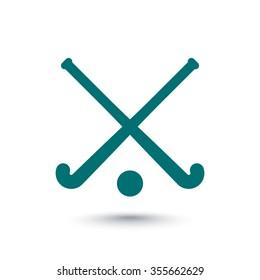 Field Hockey icon, crossed field hockey sticks and ball, vector illustration