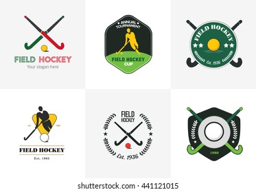 Field hockey logo set. Vector sport badges with man silhouette, stick and  ball.