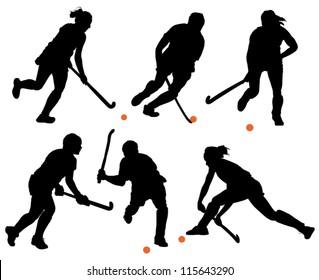 Field Hockey Silhouette on white background
