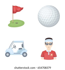 Field with a hole and a flag, a golf ball, a golfer, an electric golf cart.Golf club set collection icons in cartoon style vector symbol stock illustration web.