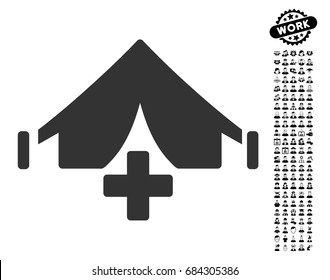 Field Hospital icon with black bonus professional clip art. Field Hospital vector illustration style is a flat gray iconic element for web design, app user interfaces.