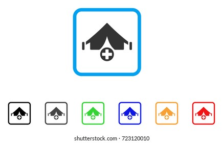 Field Hospital icon. Flat iconic symbol in a rounded rectangular frame. Black, gray, green, blue, red, orange color variants of Field Hospital vector. Designed for web and application user interface.