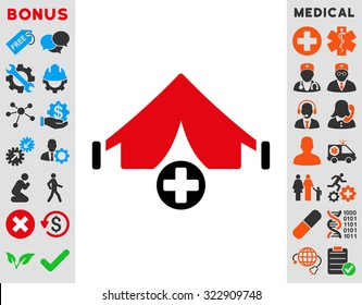 Field Hospital vector icon. Style is bicolor flat symbol, intensive red and black colors, rounded angles, white background.