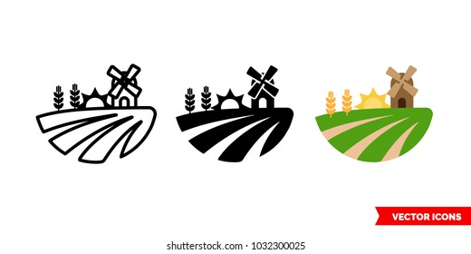 Field icon of 3 types: color, black and white, outline. Isolated vector sign symbol.