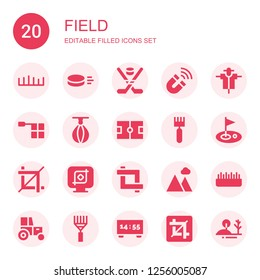 field icon set. Collection of 20 filled field icons included Grass, Puck, Hockey, Magnet, Scarecrow, Offside, Punching ball, Ice court, Rake, Golf, Crop, Landscape, Tractor, Scoreboard
