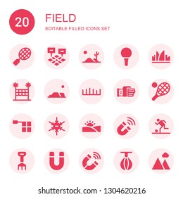 field icon set. Collection of 20 filled field icons included Tennis, Field, Desert, Golf ball, Grass, Volleyball net, Sensor, Offside, Negative ion, Magnet, Football, Rake, Punching ball
