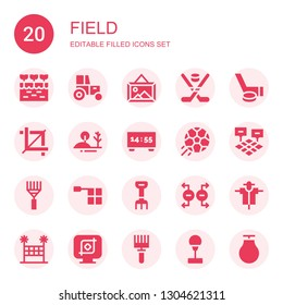 field icon set. Collection of 20 filled field icons included Farm, Tractor, Landscape, Hockey, Crop, Hill, Scoreboard, Football, Field, Rake, Offside, Magnet, Scarecrow, Volleyball net