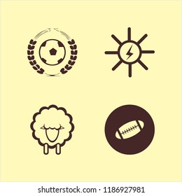 field icon. field vector icons set football game, rugby ball, sheep and solar energy