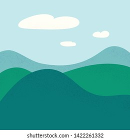 Field landscape. Green hills, nature, meadow. Summer vector background