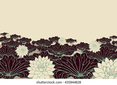 a field of lotus poster background in green, brown and ivory shades.