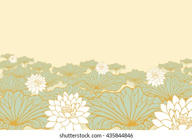 a field of lotus poster background in soft blue, ivory and gold shades.