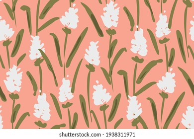 Field of pretty white flowers like lavender with a painted texture. Solid floral seamless vector pattern in peach, white and green. Great for home decor, fabric, wallpaper, gift-wrap, stationery, etc