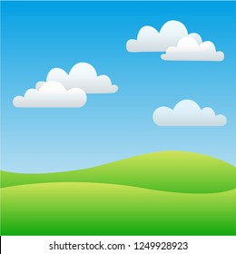 Field and sky with clouds. Vector