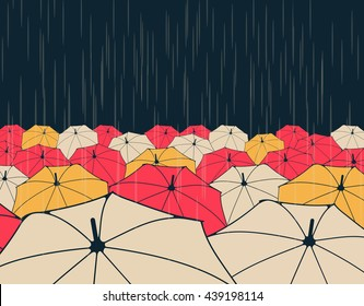 a field of umbrellas under the rain, in night blue, yellow and red