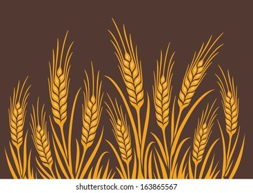 Field of Wheat, Barley or Rye vector visual illustration, golden yellow on natural brown background, ideal for bread packaging, beer labels etc.
