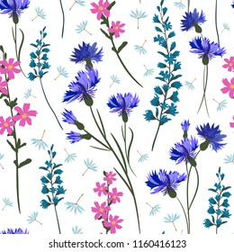 Field-flowers, leaves and herbals vector seamless pattern.